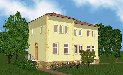 Italienisch inspirierte Villa Pagini von vorn